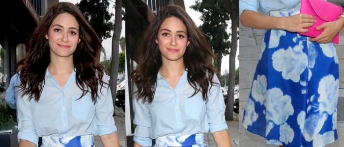 Emmy Rossum's Floral Skirt Ensemble is Good Enough for Work and Play!