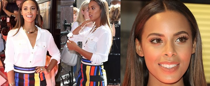 Rochelle Humes Joins the X Factor UK Family in Balmain Striped Skirt