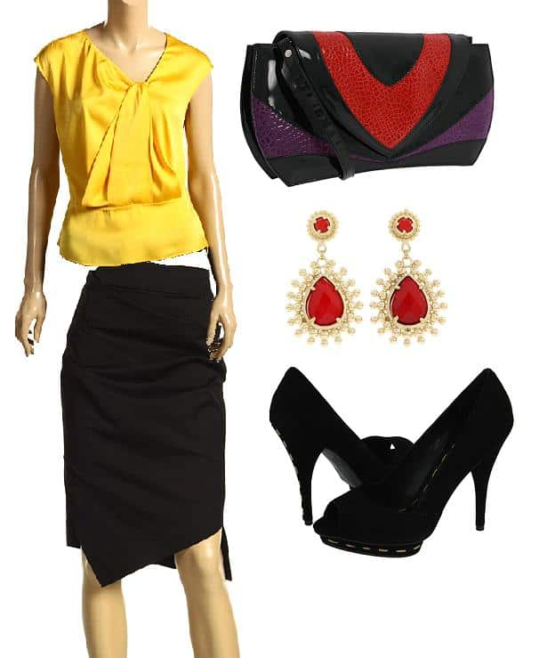 A black skirt styled with a yellow silk blouse, jewelry, a clutch, and black pumps