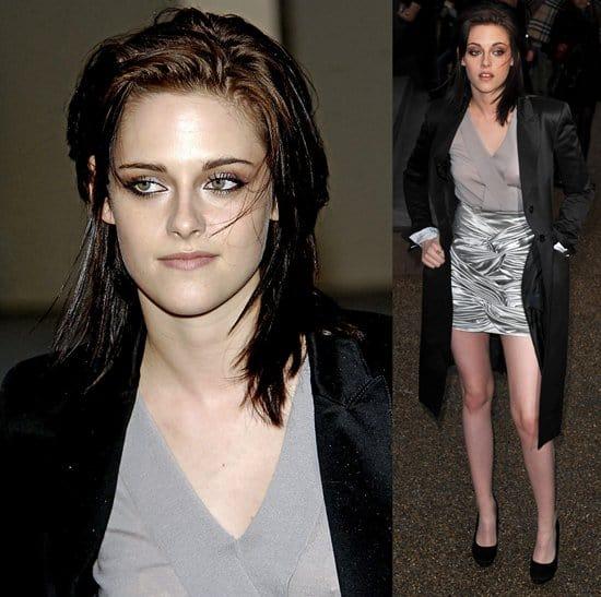 Kristen Stewart arrives for the Burberry Prorsum show at London Fashion Week Autumn/Winter 2010
