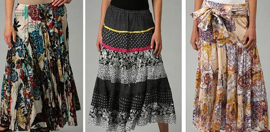 Grace Elements Floral Full Skirt / L'Affaire Black Mixed Print Skirt / Kaktus Printed Smocked Skirt