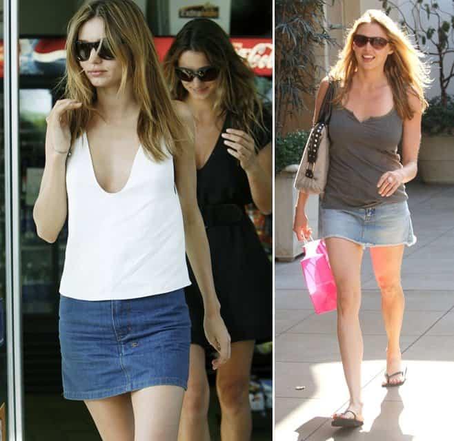 Miranda Kerr and Estella Warren flaunt their legs in mini denim skirts