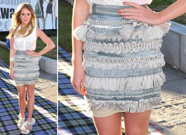 Diana Vickers's experimental denim skirt at the fifth annual Scottish Fashion Awards 2010 show