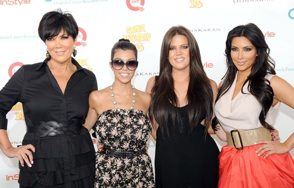 Kim Kardashian, Kourtney Kardashian, Khloe Kardashian and Kris Jenner attend Super Saturday 13 designer garage sale to Benefit Ovarian Cancer Research Fund hosted by InStyle Magazine at Nova's Ark Project in Water Mill, New York on July 31, 2010