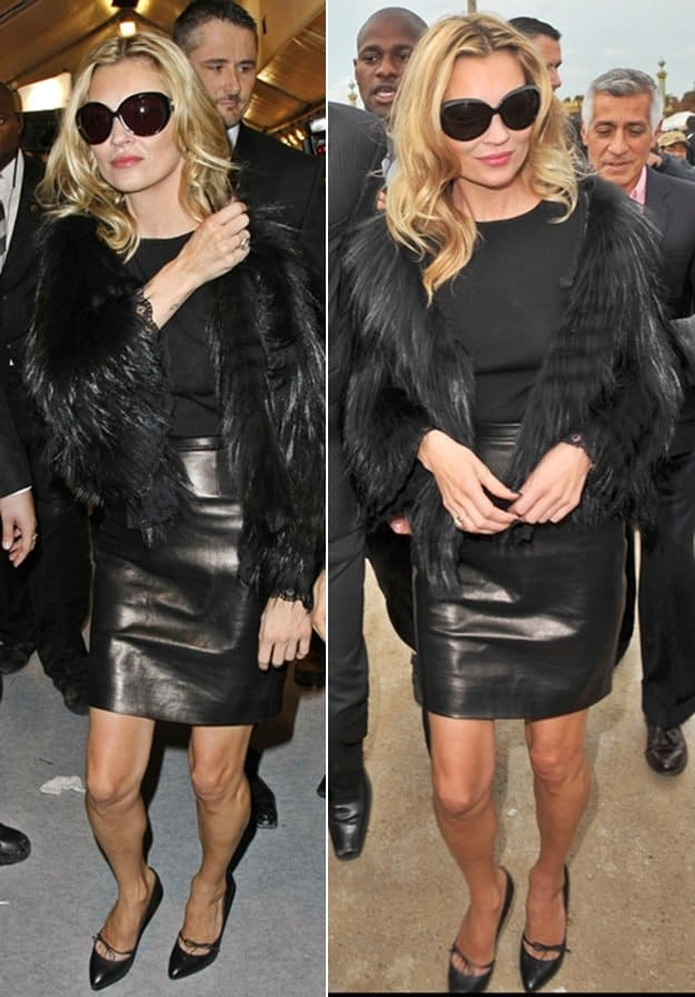 Kate Moss attends the Christian Dior Ready to Wear Spring/Summer 2011 show during Paris Fashion Week at Espace Ephemere Tuileries on October 1, 2010 in Paris, France