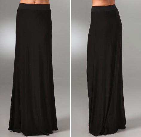 Black LNA Column Long Skirt