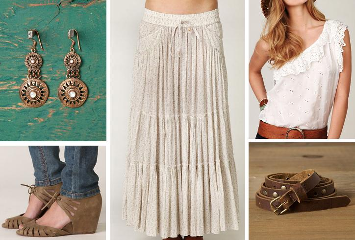 Skirt: Tiered Maxi Skirt / Ruffled Eyelet One Shoulder / Jeffrey Campbell Sunny Wedge Sandals / Rustico Wrap Belt / Homestead Long Earrings