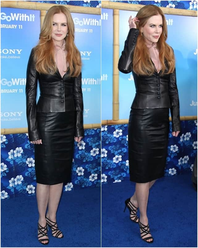 Nicole Kidman rocks a leather ensemble from L'Wren Scott with a nude pussy blouse and strappy high heels