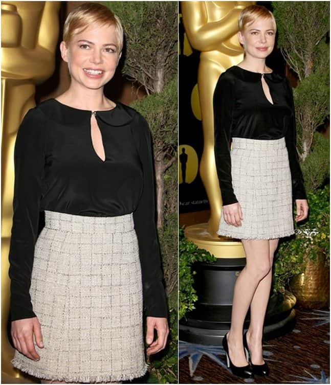 Actress Michelle Williams in Chanel at the 83rd Academy Awards nominations luncheon