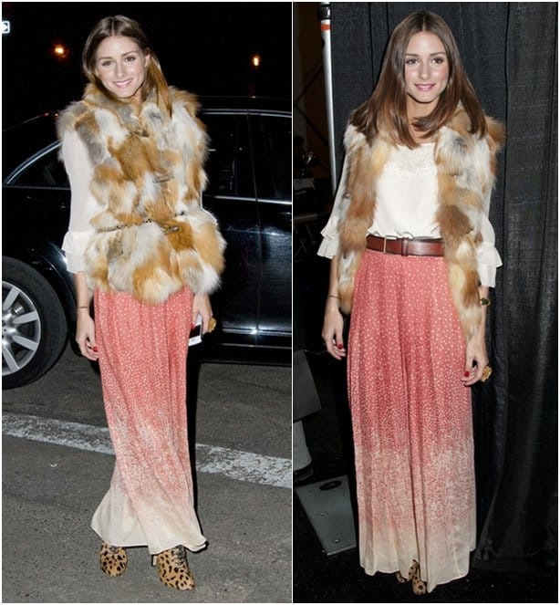 TV personality Olivia Palermo poses backstage at the Tibi Fall 2011 fashion show during Mercedes-Benz Fashion Week at The Stage at Lincoln Center on February 15, 2011 in New York City