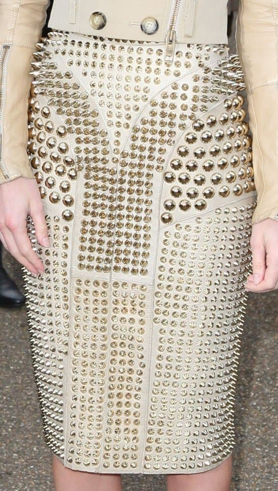 Kate Bosworth's Burberry Prorsum skirt with spikes and studs