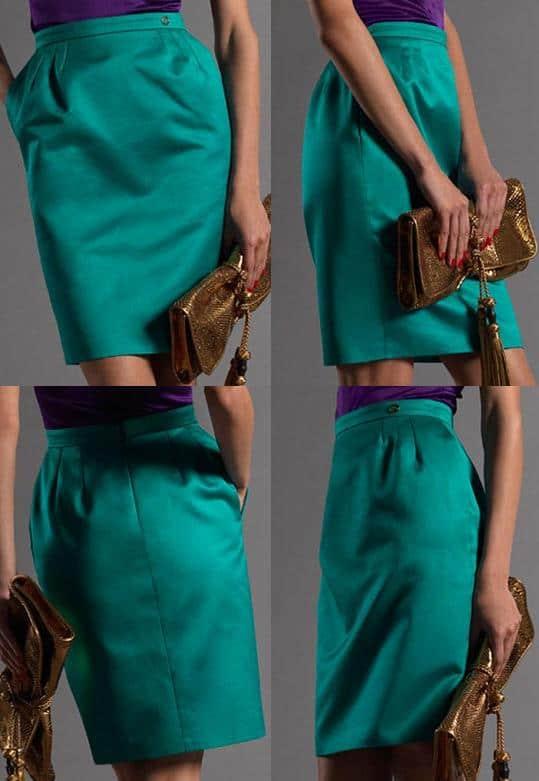 Emerald Green Gucci Darted Pencil Skirt