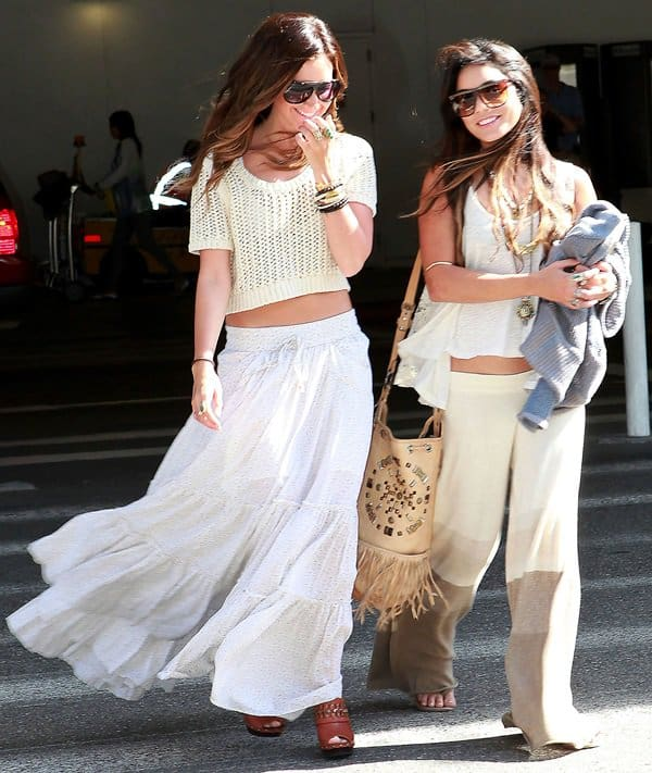Ashley Tisdale and Vanessa Hudgens arrive at LAX from a holiday at Cabos San Luca in Mexico on May 3, 2011