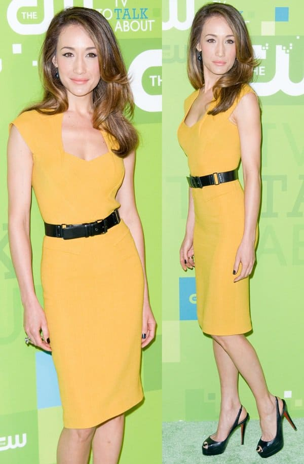 Maggie Q in a mustard yellow sheath dress at the 2011 CW Upfront
