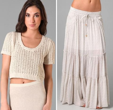 Free People Harmonica Pullover Sweater / Free People Isn't She Peasant Maxi Skirt