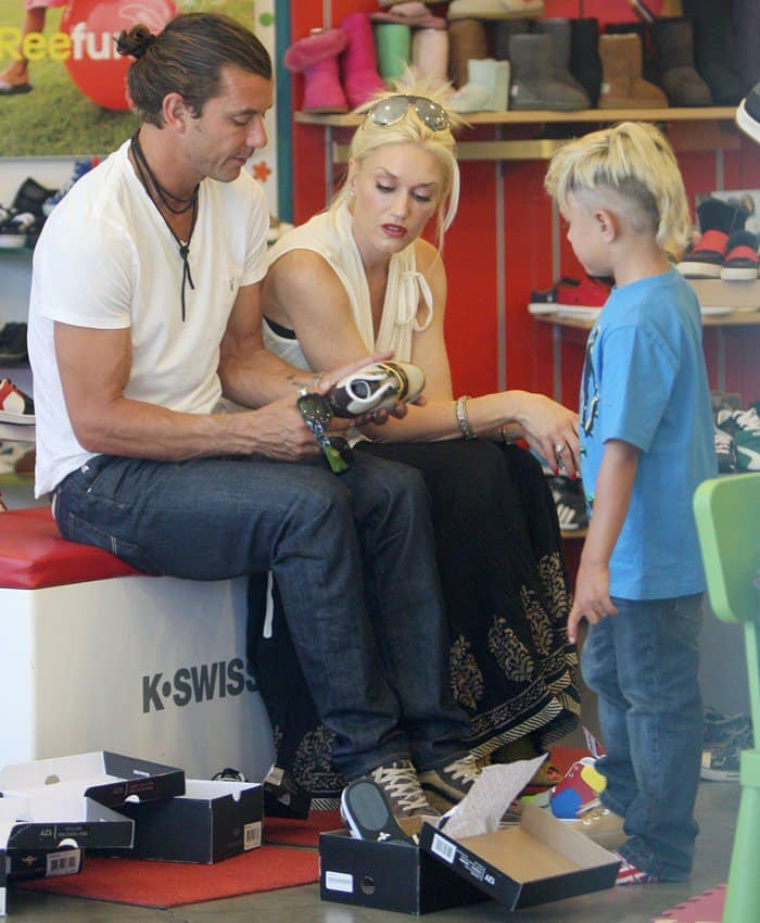 Gwen Stefani and Gavin Rossdale bring take their sons Kingston Rossdale and Zuma Rossdale out for the day in West Hollywood on July 2, 2011