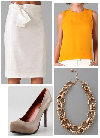 Milly Iris Tie Pencil Skirt, A.L.C. Mason Tank, Luxury Rebel Sakura Platform Pump, and Kenneth Jay Lane Bendable Link Necklace