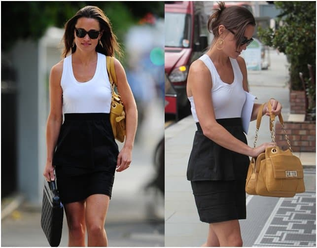 Pippa Middleton looking classic and chic in a black peplum pencil skirt topped with a white tank