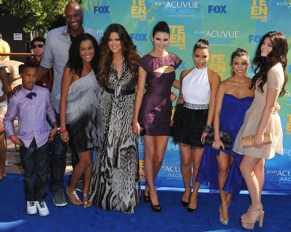 Lamar Odom Jr, Lamar Odom, Destiny Odom, Khloe Kardashian, Kendall Jenner, Kim Kardashian, Kourtney Kardashian and Kylie Jenner attend the 2011 Teen Choice Awards held at Gibson Amphitheatre in Universal City on August 8, 2011