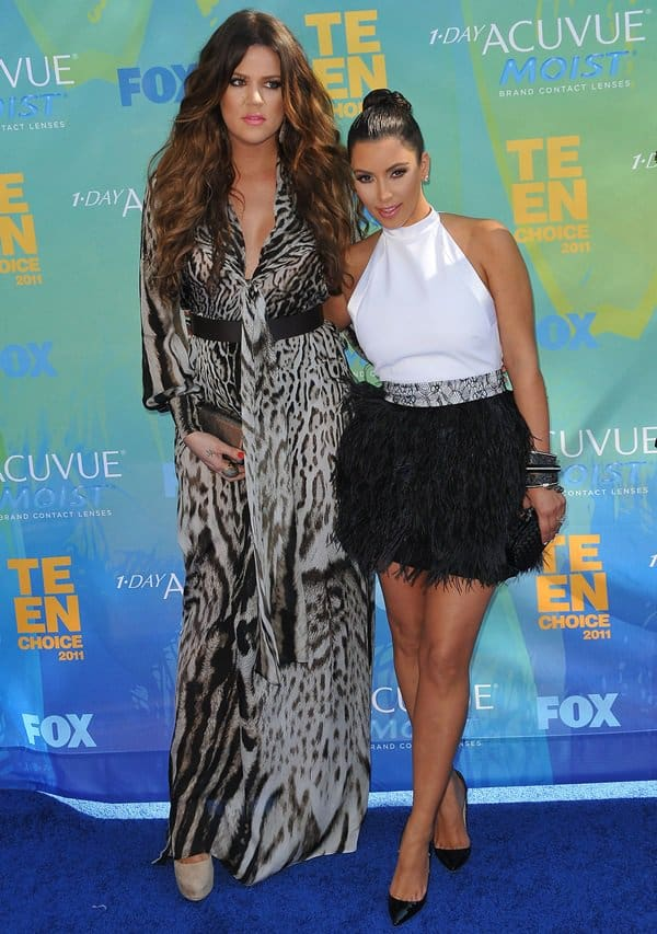 Khloe Kardashian and Kim Kardashian at the 2011 Teen Choice Awards held at Gibson Amphitheatre in Universal City on August 8, 2011