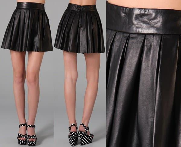 Alice Olivia Box Pleated Leather Skirt