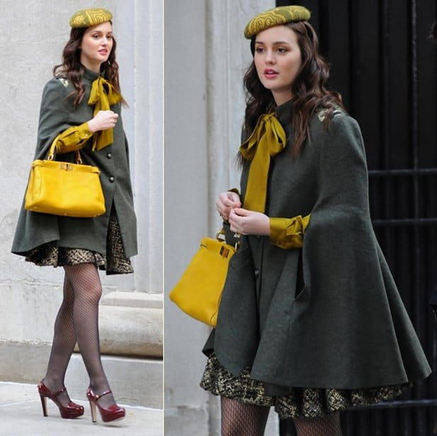 Leighton Meester films scenes for Gossip Girl Season 5 in atextured metallic skirt on location in Manhattan New York City, October 31, 2011