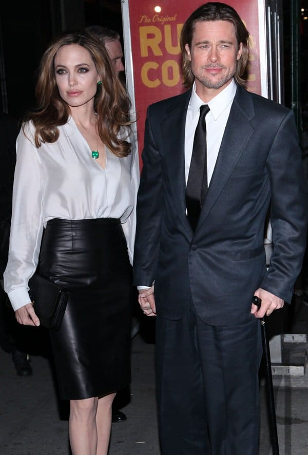 e64f65f1501 Angelina Jolie  Looking Good in Leather Skirt and White Blouse