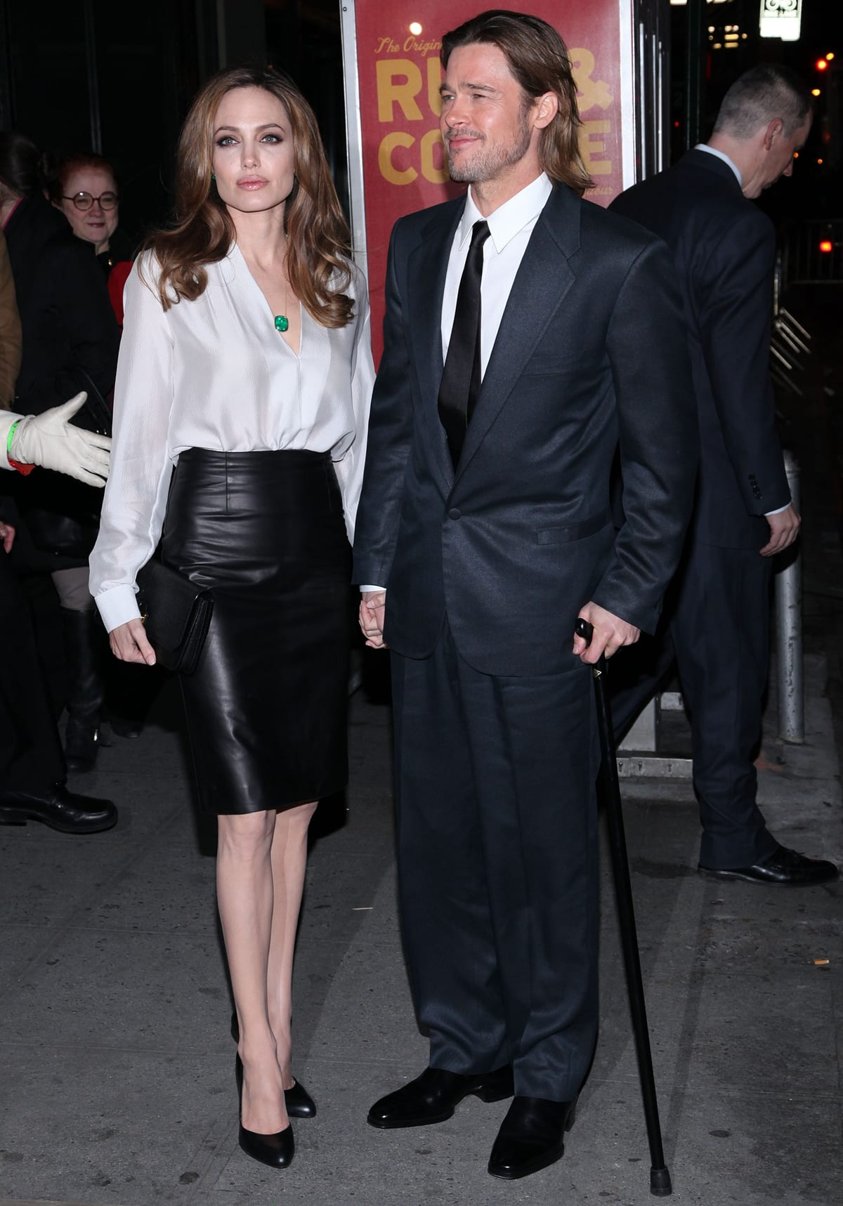 Even when wearing high heels, Angelina Jolie is significantly shorter than Brad Pitt
