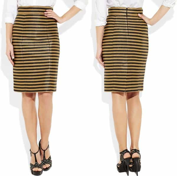 Striped Raffia Weave Skirt