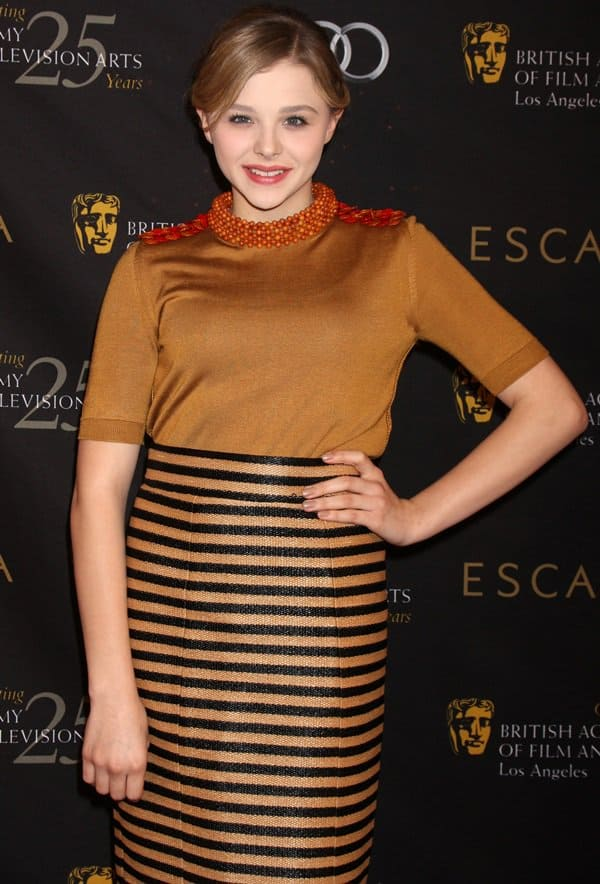 Chloe Moretz rocked a Burberry Prorsum top and skirt