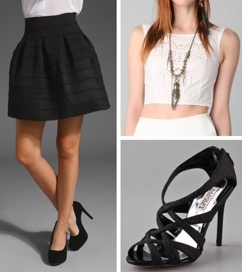 Outfit with black sandals, a cropped white blouse, and a black skirt