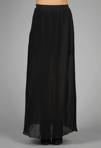 lovers + friends Wild Rose Pleated Maxi Skirt in Black