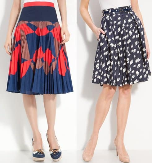 Milly 'Chrystine' Skirt / Kate Spade New York 'Lilith' Pleated Silk Skirt