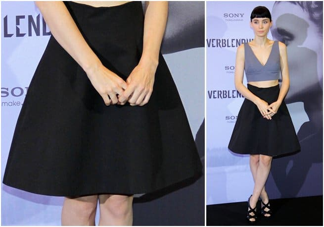 Rooney Mara promotes The Girl With the Dragon Tattoo in a Miu Miu Spring 2012 two-piece ensemble