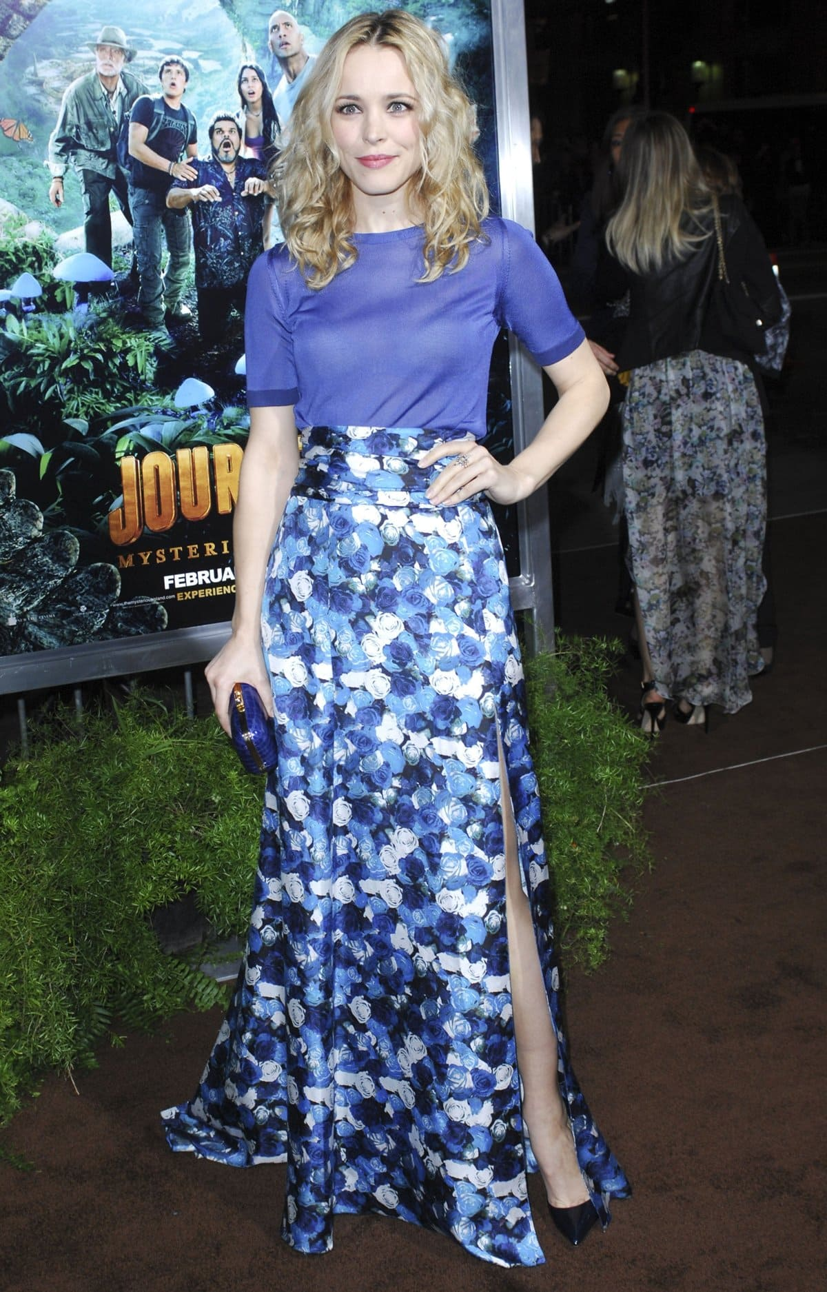 """Actress Rachel McAdams wears a blue skirt by Peter Som at the Los Angeles Premiere """"Journey 2: The Mysterious Island"""""""