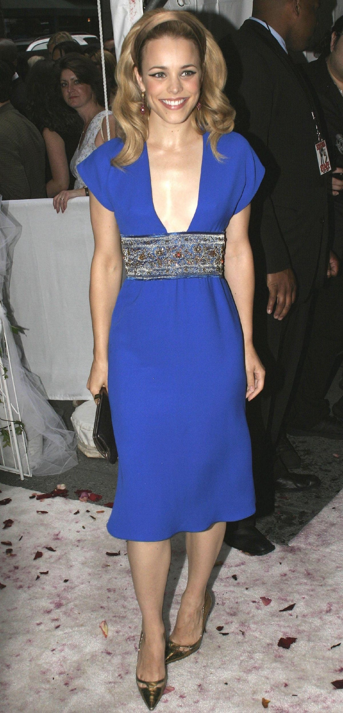 Rachel McAdams in a blue dress at the New York premiere of Wedding Crashers
