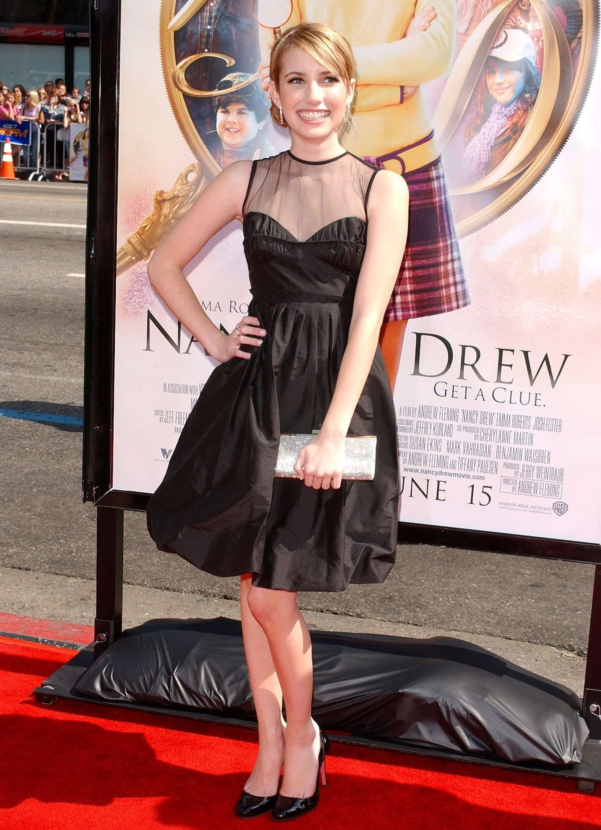 """16-year-old actress Emma Roberts attends the premiere of the Warner Bros. film """"Nancy Drew"""""""