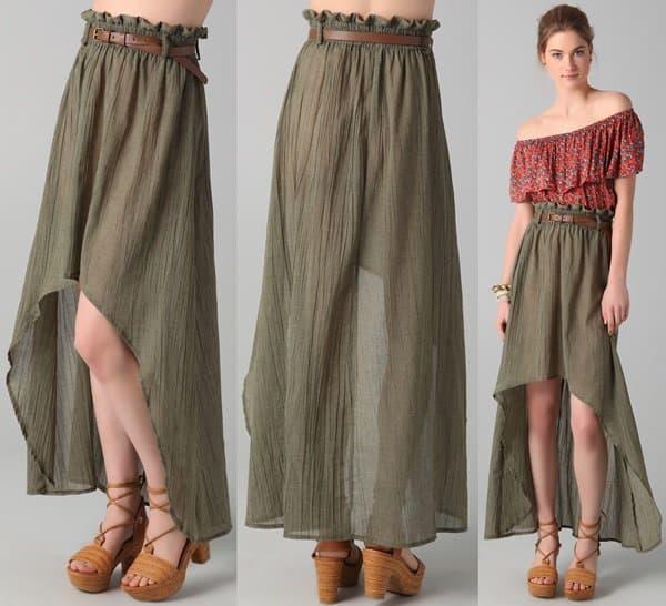 MINKPINK Nimbin Belted Skirt in Moss