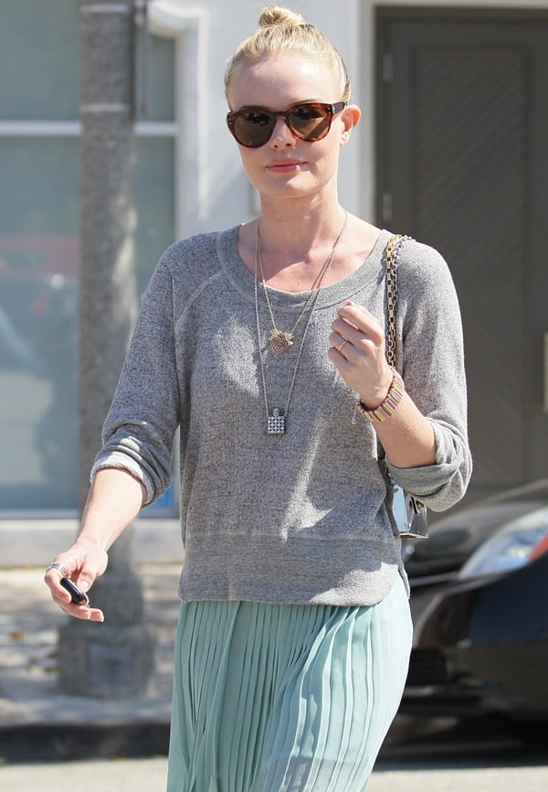 Kate Bosworth leaving Byron and Tracey Salon in a see-through skirt in Los Angeles on April 10, 2012