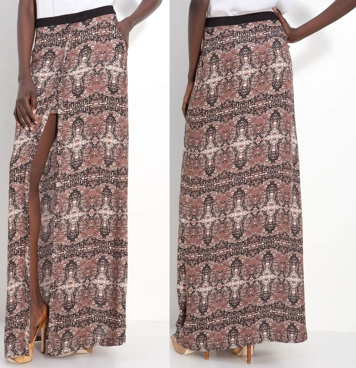 A band of grosgrain ribbon tops a Batik-patterned skirt designed with a button closure that adjusts the high, flirty front slit