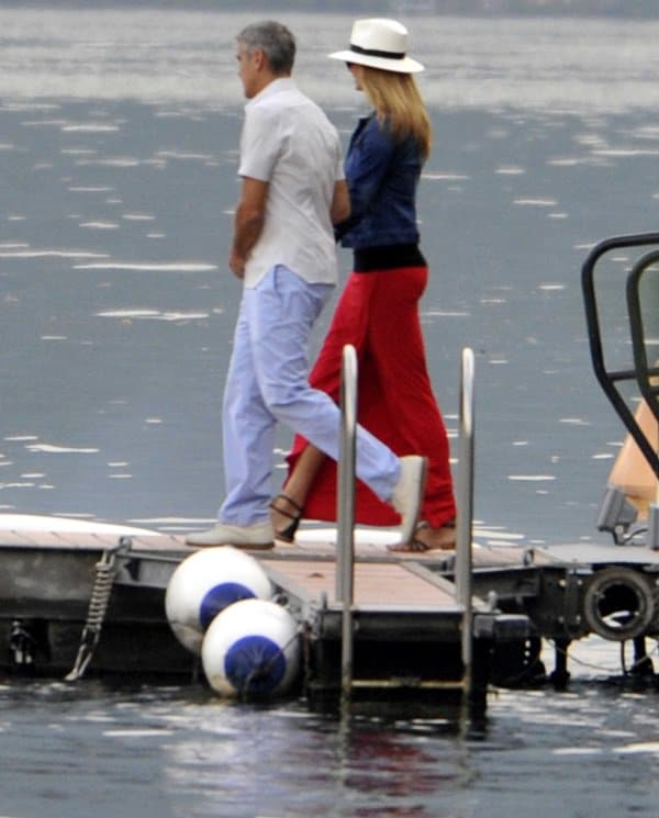 George Clooney was spotted with girlfriend Stacy Keibler in Lake Como, Italy. The couple boarded a boat with friends near his lakeside villa in Lake Como on June 19, 2012