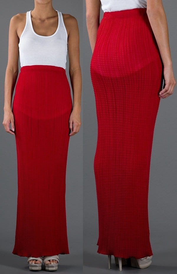 Issey Miyake Vintage Pleated Maxi Skirt in Red