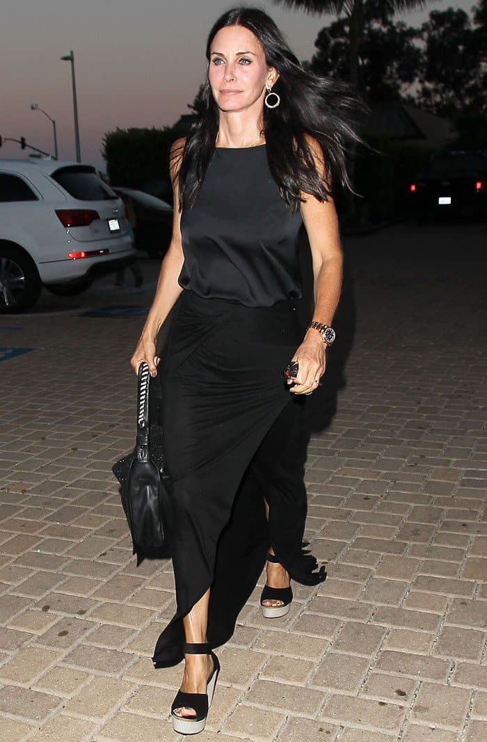 Courteney Cox leaving Malibu Country Mart after having dinner with her mother and daughter on July 6, 2012