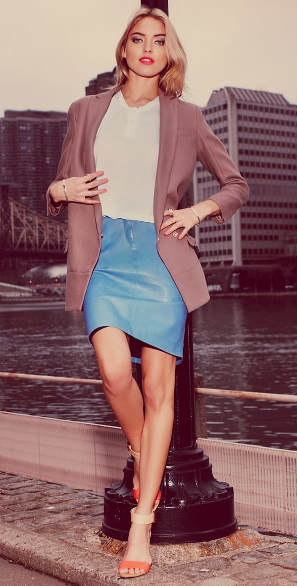 Lyn Devon City Leather Skirt in Denim Blue