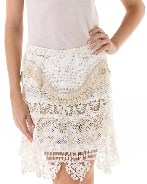 Magda Berliner Lace Ribbon Skirt in Ivory
