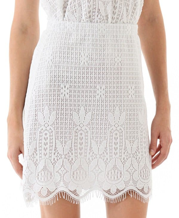 Miguelina Francine Rio Lace Skirt in White