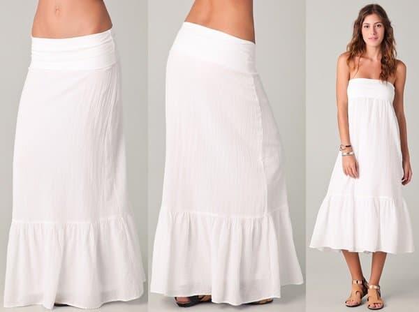 Splendid Gauze Maxi Skirt in White