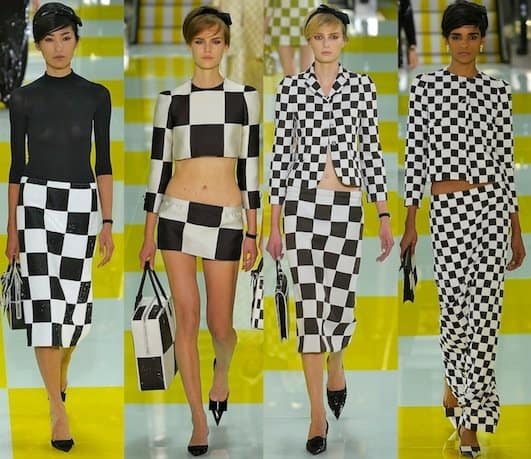 Checkerboard patterned dresses designed by Marc Jacobs for Louis Vuitton