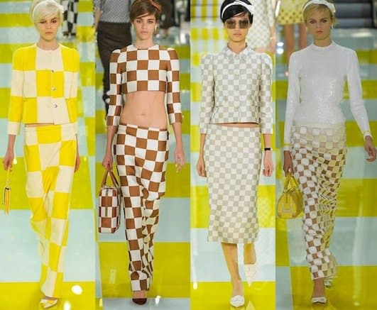 Checkered-printed skirts in black, white, yellow, grey, and brown