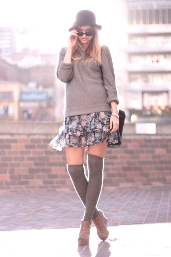Late Afternoon wearing a floral mini skirt